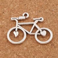 encantos de la bicicleta colgantes al por mayor-Corazón abierto de la bicicleta encantos de la bicicleta colgantes 100 unids / lote 30.6x23.3mm joyería de moda de plata antigua DIY ajuste pulseras collar pendientes L264