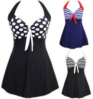 neuer einteiliger rock großhandel-Neuer reizvoller Streifen gepolsterter Halter-Rock-Badebekleidungs-Frauen-Badeanzug-Strandkleid-Schwimmenkleid plus Größe M ~ 4XL