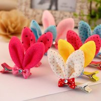 Wholesale little girls barrettes resale online - Best gift Hair Ornament Bunny Rabbit Ears Hairpin Little Girl Baby Hair Making Head Jewelry FJ069 mix order pieces a