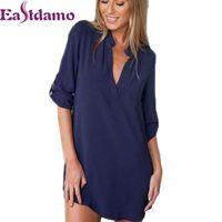 Wholesale Womens Sexy Chiffon Nightgown - Wholesale- 2017 Womens Chiffon Sexy V Neck T-Shirt Nightgowns Plus Size Long Sleeve Slik Sexy Nightie Sleepwear Dress Sexy Nightdress XL
