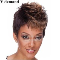 Wholesale Short Hair Wigs Fluffy Synthetic - Fluffy 4 Colors Short Fashion Ombre Straight Wig Pixie Cut Hair Synthetic Full Afro Wigs For Black Women In Stock High Temperature Fiber