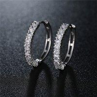Wholesale Pave Diamond Hoop Earrings - Glowing Hoop Earring Pave Square Shape Cubic Zirconia Brass Setting Social Diamond Earring For Women 022-ER0287
