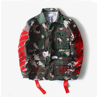 Wholesale Womens Fashion Military Jacket - High Quality Mens Womens Justin Bieber Camouflage Off-White Jacket Kanye West Fashion Military Camo Off White Jackets And Coats