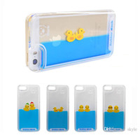 Wholesale Duck Back - For Iphone 6 cases 3D Liquid Flow Case Yellow Duck Cartoon Hard Plastic Case For Iphone 6 plus Back Cover Case Opp Package