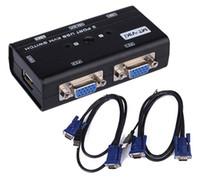 Wholesale Usb Vga Kvm Cable - MT-260KL 2 Port USB 2.0 KVM VGA Switch Box Keyboard Mouse Monitor kvm switch with 2 Sets VGA cables