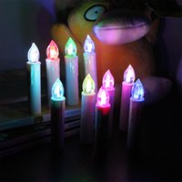 Wholesale color changing led christmas candles - 10pcs Wireless Remote Control 12 Color Change Led Candle Light Birthday 2017 New Year Christmas Tree Decorations Wedding Candles