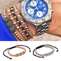Wholesale Macrame Style Bracelets - Anil Arjandas Fashion Luxury Gold Plated 3 Round Beads Macrame high quality Bracelet Micro inlay zircon Mens & Womens New Style Accessories