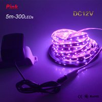 Großhandels-2016 Neue Pinkish purpurrote Farbe LED-Streifen-Licht SMD 2835 DC 12V 5M / Rolle 300Leds mit DC-Stecker-Lampen-Band-Schnur-Band Nonwaterproof