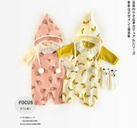 Wholesale Ice Cream Romper - INS new arrivals fall baby kids climbing romper banana and ice cream print cute boy girl kids outwear romper kid sprint fall rompers 0-2T