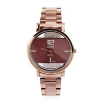 Wholesale Strap Women Sale - 2017 New Daybird Top sale womens watch full coffe face Stainless steel strap translucent quartz movement watch women free shipping