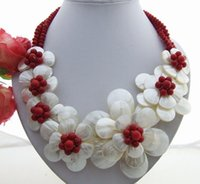 Charming! Shell FlowerCoralCrystal Necklace Stunning! Collana PearlShellCoralCrystal