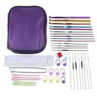 Wholesale Craft Offers - New Exclusive Offer 53pcs set Mixed Aluminum Handle Crochet Hooks Knitting Needles Knit Craft Set with Compact Carry Case