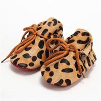 yeni doğmuş bebek sandaletler toptan satış-Bebek Kız Ayakkabı Yenidoğan Leopar Bebek Yürüyor Ayakkabı Tam Deri At Kılı Yumuşak Alt Bebek Ayakkabıları Çocuk Sandalet