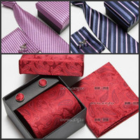 Wholesale Ties Set Boxes - Gift boxes Series Silk Tie Set Wholesale Necktie Hanky Cufflinks Classic Silk Jacquard Woven Men 's Tie Set