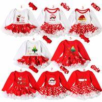 ingrosso cappello disegni per natale-Christmas Party Baby Girl pagliaccetto set Natale Santa Hat Boot lettera stampa Design manica lunga tuta pagliaccetto vestito + fascia set di due pezzi