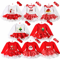 Wholesale cute christmas boots for sale - Group buy Christmas Party Baby Girl romper set Christmas Santa Hat Boot letter print Design long sleeve romper tutu dress headband two piece sets