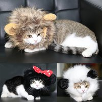 Wholesale Lion Wigs Dogs - 26-30Cm Forest King Dogs Cats Costumes Wig Dressed Up Funny Lion Head Cover Decoration Animals Wig Accessories Pet Supplies