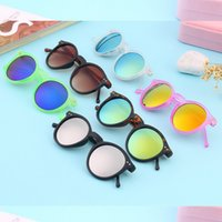 Wholesale Colorful Plastic Sunglasses - Vintage Retro Men Women Mirror Glasses Plastic Frame Colorful Round Lens Summer Hot Sales Sunglasses Eyewear Glasses 2017 New
