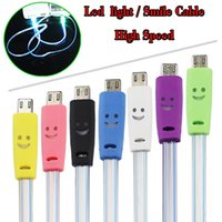 Wholesale Iphone Noodle Chargers - For iPhone Led Light Lightning Cable Micro USB Visible 1M Flat Noodle Cables Charger Sync Data Extra Charging Adapter High Speed For Samsung