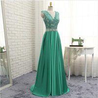 Wholesale Gorgeous Satin Dresses - Gorgeous A-Line Cheap Evening Dresses High Quality Elastic Satin Long Special Occasion Dress Deep V-Neck Lace Appliques Cap Sleeve Prom Gown