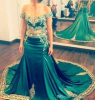 Wholesale Indian Occasion Dresses - Hunter Green Arabic Indian Prom Dresses 2017 Two Piece Off Shoulder Plus Size Lace Appliques Formal Evening Occasion Gowns Vestidos De Novia