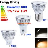 Wholesale E27 Led Bulbs High Lumens - GU10 E27 E14 MR16 Led Bulbs Light 9W 12W 15W COB Led Spot Lights Lamp High Lumens CRI>85 AC 110-240V  DC 12V DHL Free Shipping