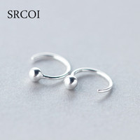 Wholesale Earrings Sterling Silver Round Ball - Wholesale- Personalized Fashion 925 Sterling Silver Earrings Hoop With Tiny Silver Ball Earrings Round Hoops Small Hoop Earrings For Women