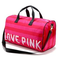 Mulheres Moda Sexy Love Pink Handbags Barrel-shaped Grande capacidade Travel Duffle Striped Waterproof Beach Bag Shoulder Bag