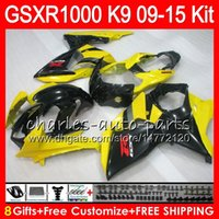 Wholesale Gsxr Black Yellow - 8Gift For SUZUKI Yellow black GSX R1000 GSXR1000 09 10 11 12 13 14 15 38NO25 K9 GSXR-1000 GSXR 1000 2009 2010 2011 2012 2013 14 2015 Fairing