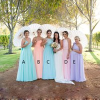 Wholesale Aline Chiffon Bridesmaid Dress - Free Sheep Elegant Chiffon Bridesmaid Dress Mix Style Custom Made ALine Ruffle Formal Evening Prom Gown Long Cheap maid of honour at wedding