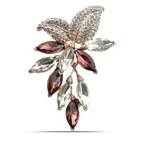 Wholesale Crystal Grapes Wholesalers - 3 color choose big crystal flower brooch gold plated grape pins and brooches office lady brooch wedding jewelry high quality