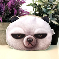 Wholesale Panda Face Bag - 3 styles new cat coin purse ladies 3D printing Brown bear rabbit panda animal big face change fashion cartoon zipper bag for children