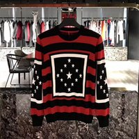 Wholesale Black Cashmere Sweater Xl - 2017 Autumn winter Brand Fashion Stripe pentagram stars printing Sweatshirt men Hoodies Casual Hoodie Male Long sleeve sweater