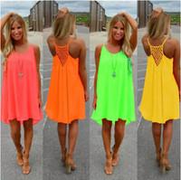 Wholesale 3xl dresses - New Fashion Sexy Casual Dresses Women Summer Sleeveless Evening Party Beach Dress Short Chiffon Mini Dress BOHO Womens Clothing Apparel