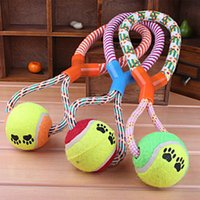 Wholesale Dog Ball Rope Toys - Y Shape Tennis Ball Teeth Chew Training Cotton rope Paw print Pet toys for dogs Cat