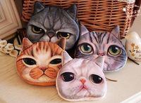 Wholesale Printer Cartoon - 20 pcs Lot 3D Printer cat face coin purse Zipper coin Holders cartoon women wallets handbags coins bag acceptor Animal purse wallet
