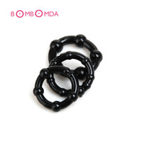 Wholesale triple cock rings - Wholesale- Beaded Triple Time Delay Penis Rings Cock Rings Set for Man, Erotic Sex Toys Adult Sex Products for Couple