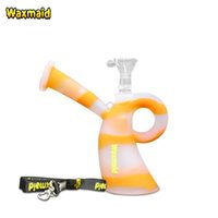 Wholesale Curing Silicone - Smoking Bongs Oil Rigs Waxmaid Platinum Cured Silicone Bong Unbreakable Cheap Water Pipes With Glass Bowl And Lanyard For Dry Herb And Wax