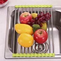 Wholesale Roller Mat - Foldable Stainless Steel Kitchen Sink Roller Drainer Tray Roll Mat Rack Holder