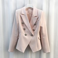 Wholesale Women Double Breasted Blazer - 2018 Spring Autumn HIGH QUALITY Women Solid Color Glod Buttons Double Breated Notched Slim Blazer Feminino Runway Jacket Outwear