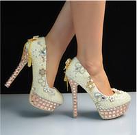 Wholesale Glass Slipper Flat Shoes - New wedding shoes high glass slipper manual waterproof bride wedding banquet bridesmaid wedding champagne