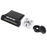 auto alarmanlagen großhandel-TP880 Auto TPMS Solarenergie Reifendruckkontrollsystem Auto Reifen Temperatur Alarm Mit 4 Externe Sensoren LED Anti-Thef