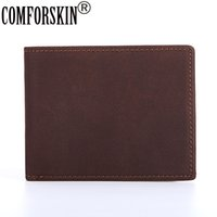 Comforskin Brand Guaranteed Genuine Crazy Horse Leather Money Clip 2017 New Arrivals Simple Vintage Style Designer Wallets Purse