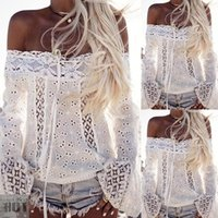 Wholesale New Sexy Women Top Clubwear - 2017 NEW Sexy Summer Women White Embroidery Lace Crop Top Plus Size Clubwear Flare Sleeve Clothing