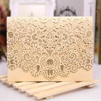 Wholesale Chinese Wedding Red Envelopes - RSVP Card Laser Cut Wedding Invitations Per set 2016 New Patter Laser Cut Lace Wedding Invitation Envelope H30 Wedding Invitations Cards