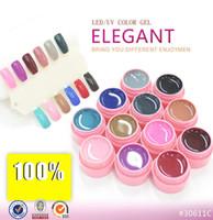 Wholesale Elegant Nail Tips - Wholesale-12 Colors LED UV Gel Builder Cover Pure Soak Off Natural UV Nail Art Tips Elegant Series 125-136 CANNI