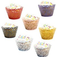 Wholesale Tea Baking Cups - 50pcs  Bag Multicolor Cake Little Vine Lace Laser Cupcake Wrapper Liner Baking Cup Wedding Birthday Tea Party Table Decoration