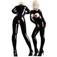 Wholesale sexy bodysuit costumes - Wholesale- New Arrival Sexy PVC Latex Catsuit Women Black Open Bust Bodysuit Cat Women Costume Open Crotch Jumpsuit Erotic Fetish Catsuit