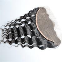 tam bakire malezya saç dökümü toptan satış-Brezilyalı Gevşek Derin 13x4 Dantel Frontal Kapaklar Ücretsiz Bölüm Tam Dantel Frontal 100% Işlenmemiş Malezya Virgin İnsan Saç Kapatma