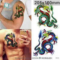 Wholesale Colours For Tattooing - Wholesale-Body Art Waterproof temporary tattoo sticker for men Domineering 3d colours dragon large flash tatoo wholesale QC2616